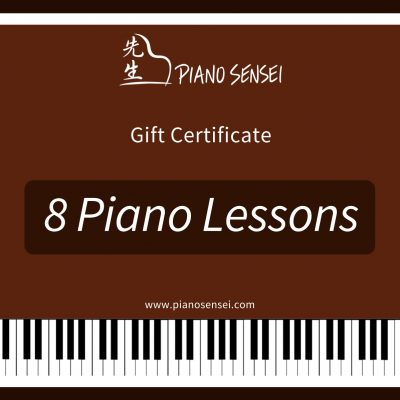 8 piano lessons gift certificate