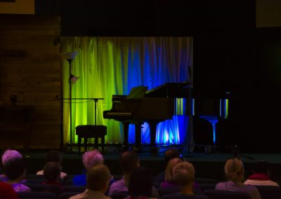 piano on stage at Music Alive