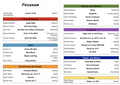 Winter Musicale 2018 program
